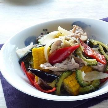 豚肉と夏野菜の甘酢炒め