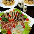 カルパッチョ+海老水餃子+チーズハンバーグ+地中海料理