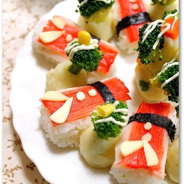 カニカマでデコレーション!サンタ寿司♪