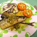 秋刀魚の塩レモンハーブ焼き