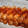 厚揚の豚バラ肉巻き焼(ハンバーグソース味)