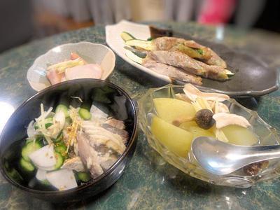 8月19日献立☆冬瓜、ゴーヤ、芋茎、ズッキーニ!!夏野菜で6品 ☆大好きな夏が終わりませんように