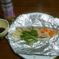 GABAN「和風醤油&バルサミコ」で「鮭のホイル焼き」イタリアン風ドレッシング