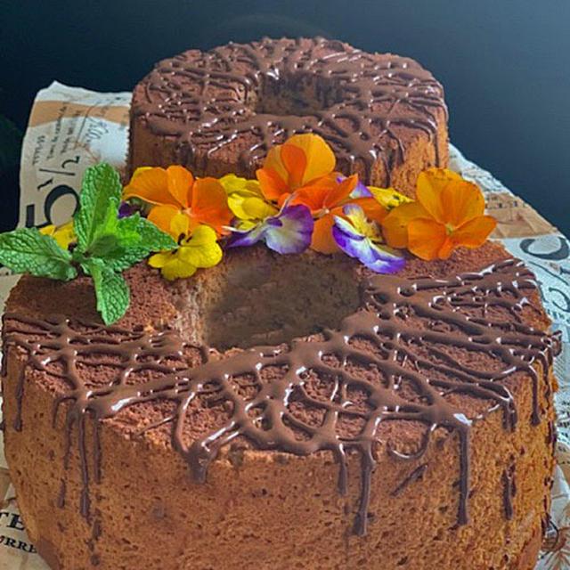 プレゼント用にしっとりふんわり!!ノンオイルココアシフォンケーキを焼きました