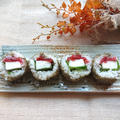 5分で簡単、山芋、梅、大葉のとろろ昆布巻き寿司