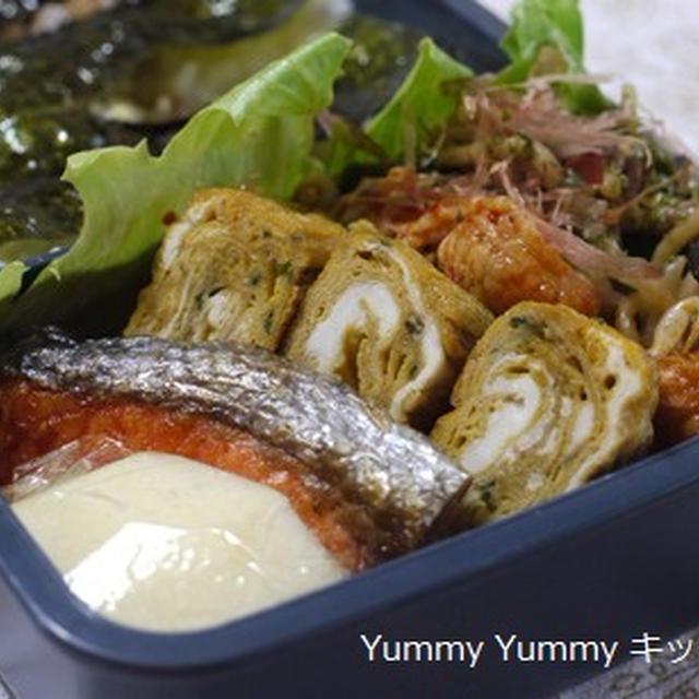 中学息子弁当~シソ入り卵焼き・豚キムちくわの野菜炒め・焼きそば・・