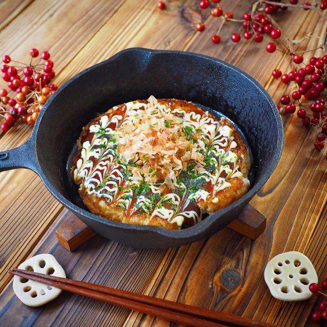 ツナ餅入り蓮根のお好み焼き