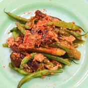 夏野菜と豚の辛味噌炒め