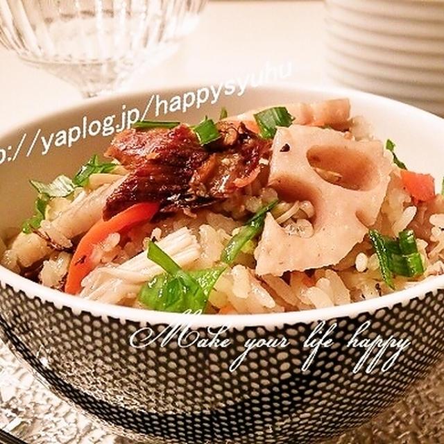 さんまの蒲焼き缶とレンコン☆炊き込みご飯