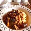 <野菜ジュースを使って茄子ときのこのスパッゲティミートソース>