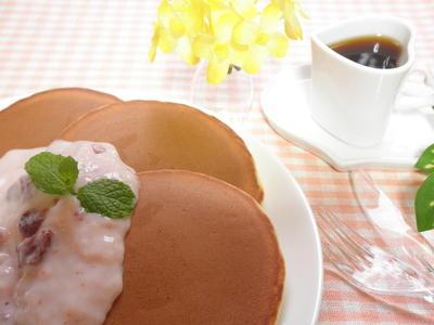 フルーチェで朝ごはん☆ふんわりホットケーキ