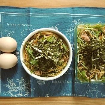 ツナと水菜のスパゲッティ弁当、ザ・シュウマイ定食