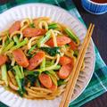炒める手間を短縮♪5分で完成♪『青菜とウインナーの和風焼きうどん』