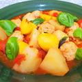 ★【おうちごはん】ジャガイモと鶏団子のトマト煮♪