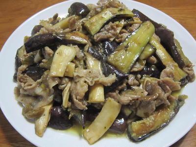 高菜と豚肉とナスの炒め物