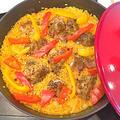 モニター「カラフルペパー」を使ってストーブ鍋ブレーザーでチキンのパエリア by pentaさん