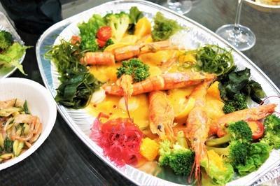 ■クリスマスおもてなし料理⑧~⑩【赤海老と帆立のウニソース/南瓜のサラダ/中華サラダ】パーティーケータリング料理です。