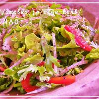 春菊と大根で美味しいサラダ♪スパイスミックスソルトで手作りドレッシング