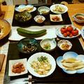 ニラチヂミとゴーヤチャンプルとプランターのきゅうりとプチトマト。小鉢6品で晩酌。