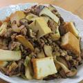 きのこと厚揚げとひき肉のピリ辛生姜醤油炒め