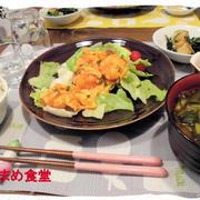 【エビチリ】と【ホタテとほうれん草のバターソテー】と賀茂鶴♪