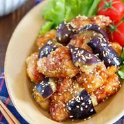 揚げない鶏唐となすの甘酢ごまだれ【#作り置き #お弁当 #揚げ焼き #オイル蒸し #主菜 #和風】