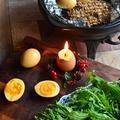 土鍋で燻製料理 半熟卵の燻製