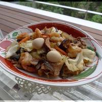 旨炒めペーストで 海老と豚肉の八宝菜風炒め