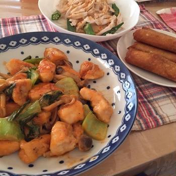 鶏マヨと棒棒鶏風サラダ