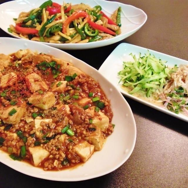 麻婆豆腐と青椒肉絲など