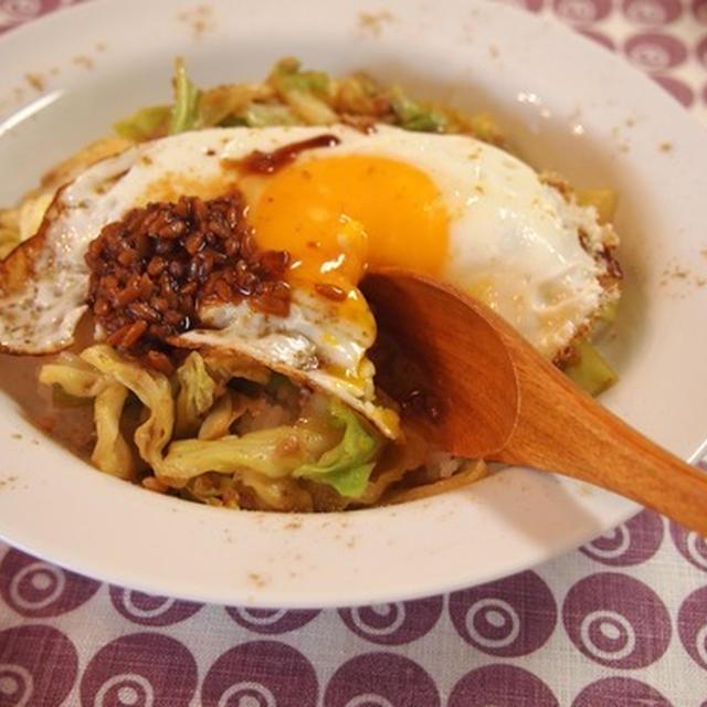とろーり卵と春キャベツのクミン炒め with 醤油麹。
