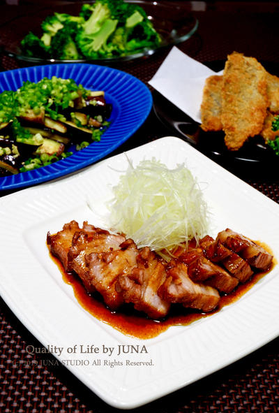 JUNA夫さん用晩ご飯(チャーシューとかアジフライとか)