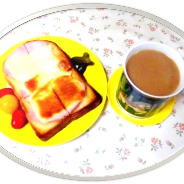 忙しい朝の定番 ハム&チーズトーストで