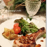 骨付き豚肩ロース肉のオニオンマリネ焼き・バルサミコソース*イブイブ・ディナーのお料理♪