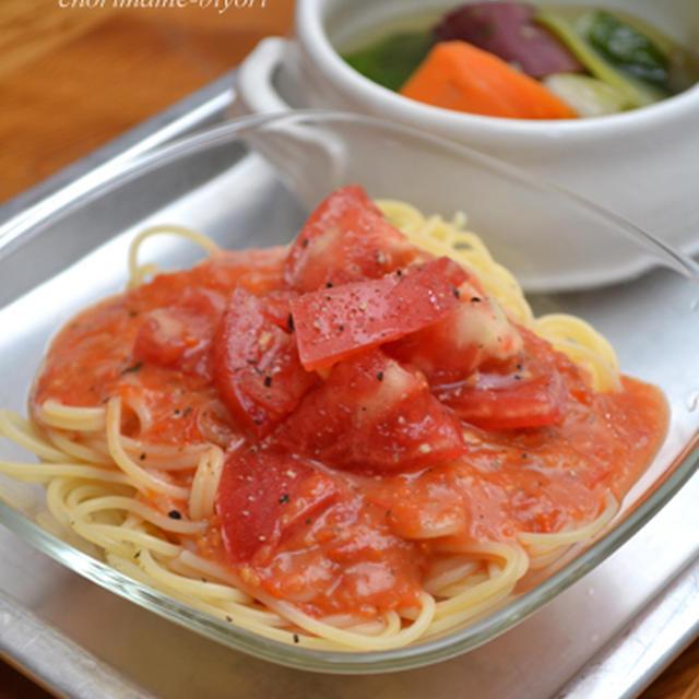 ミニトマトオイル煮ソースの冷製パスタの晩ご飯。昨日は、豆乳食パン。