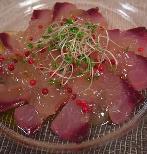 魚のカルパッチョ~魚のダシのゼリーがけ