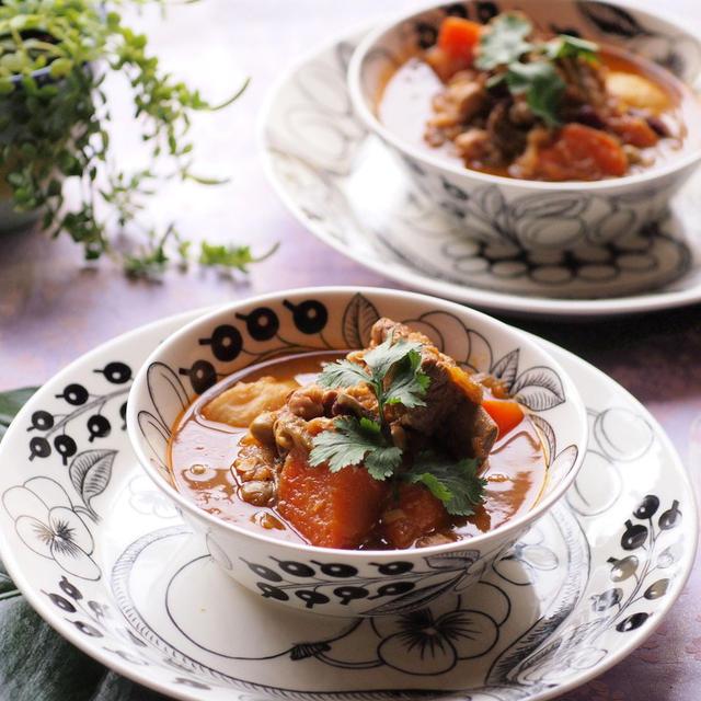 豆と野菜と牛肉のスープカレー