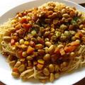 カレー煮豆 DE ビーフン風カレーパスタ