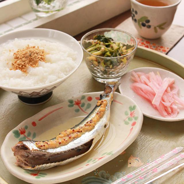 レンジでいわしのマスタード味☆おうち和cafeランチ