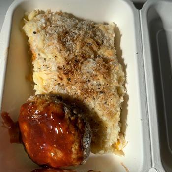 7月29日〜8月2日 グラタンハンバーグ、豚キムなす味噌、白身魚フライ、肉豆腐餡、鮭
