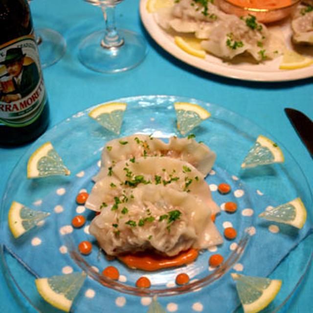 「ビール」つるコリッ冷製胡桃とチーズのライス餃子☆