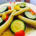 ズッキーニとパプリカの中華風炒め〜夏野菜