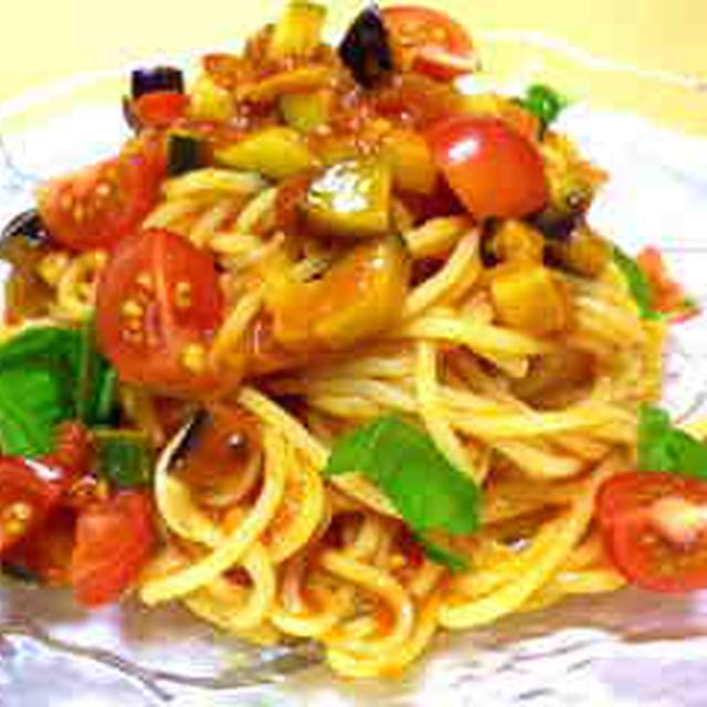 レシピ「夏野菜の冷製トマトスパゲッティー」