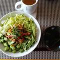 生野菜+ピリ辛肉ののつけ麺