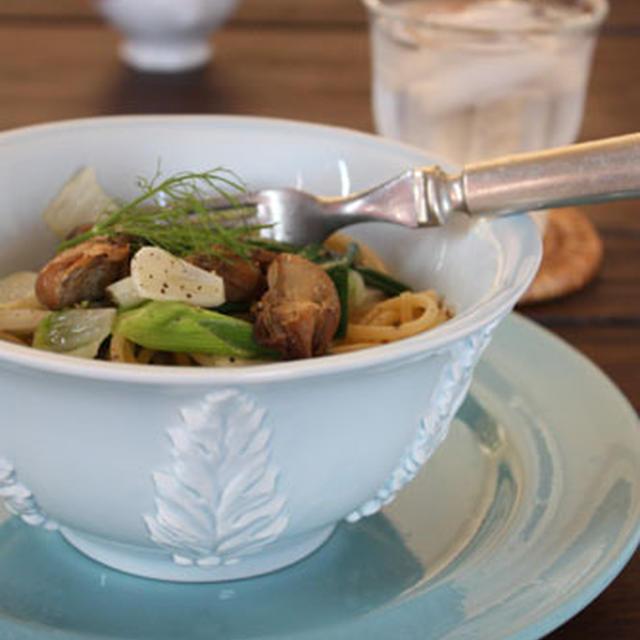 スモーク牡蠣と白菜、葱のパスタ