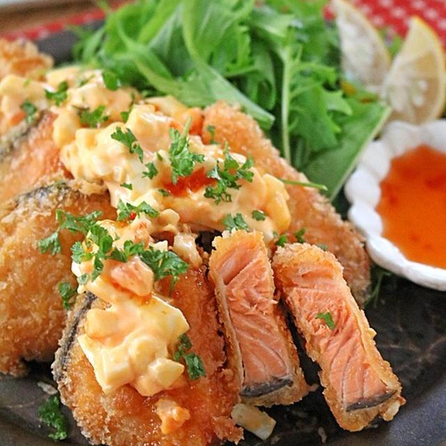 秋鮭でお弁当おかず♪パンチのある甘辛タルタルの鮭フライ!連載