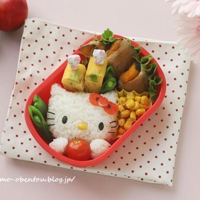 キャラ弁動画レシピ*りんごを持ったキティちゃんのお弁当