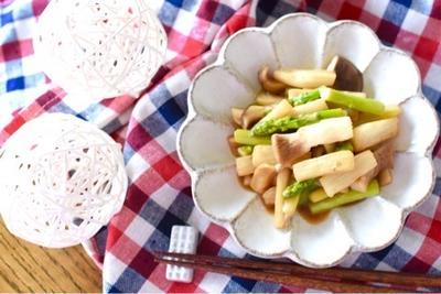 アスパラと長芋のバターポン酢炒め