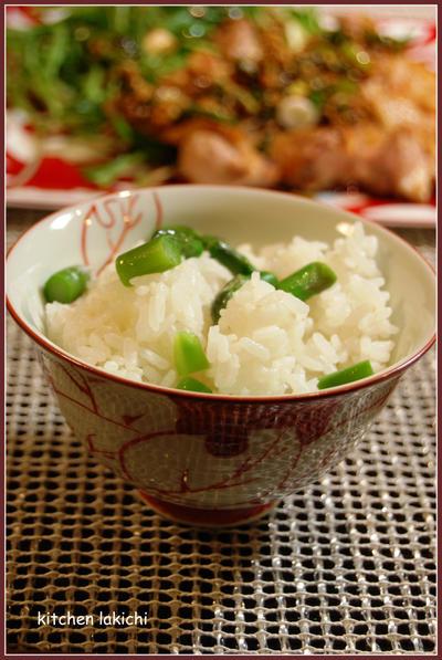 アスパラごはん(レシピ)~頂き物の美味しいお塩を使いました♪~