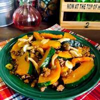 かぼちゃとひき肉のめんつゆガーリック炒め。